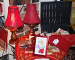 hand made red lamps and cloth